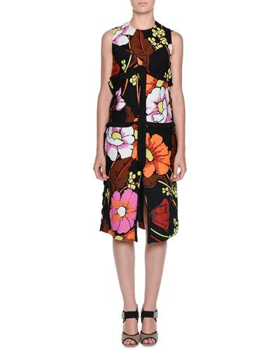 Sleeveless Floral-Print Shift Dress, Black