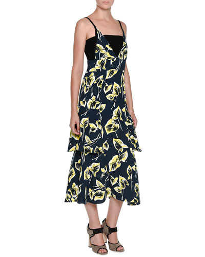 Sleeveless Tiered Floral-Print Dress, Blue/Black