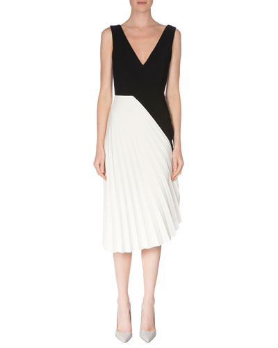 Sleeveless Colorblock Pleated Dress, Black/White
