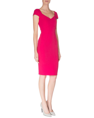 Sweetheart-Neck Seamed Dress, Magenta