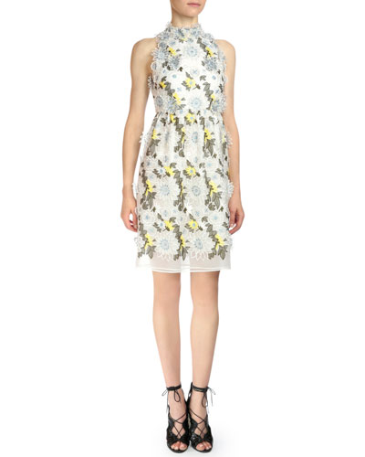 Halter-Neck Floral-Embroidered Dress, White Floral