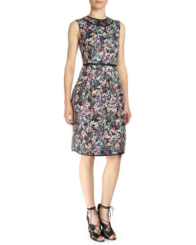 Sleeveless Gloria Garden Sheath Dress, Pink Multi