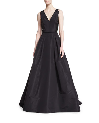 Sleeveless V-Neck Ball Gown, Black