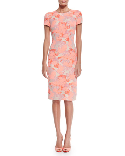 Short-Sleeve Hydrangea-Print Sheath Dress, Coral/Beige