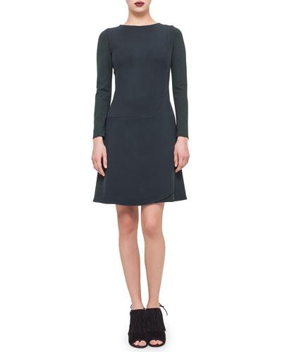 Long-Sleeve Faux-Wrap Dress, Bottle