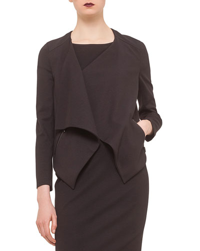 Long-Sleeve Draped-Front Jacket, Black