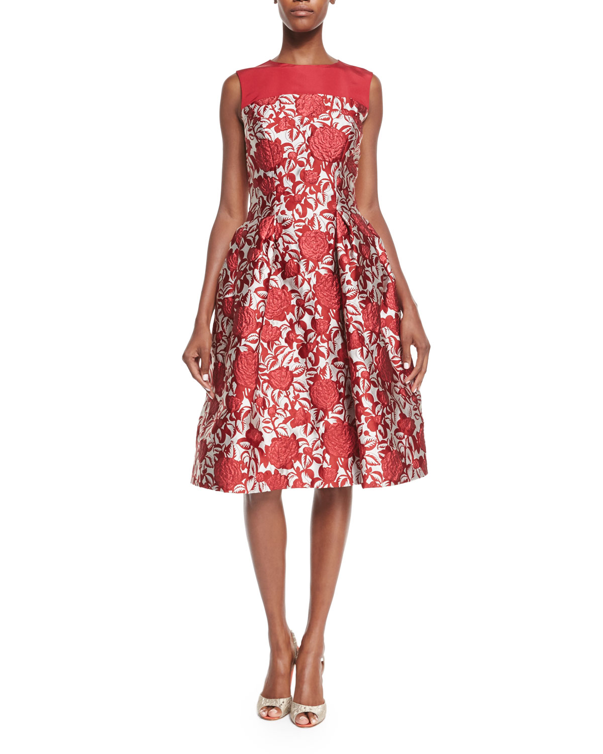 Fit-&-Flare Rose-Print Cocktail Dress, Red Rose/White