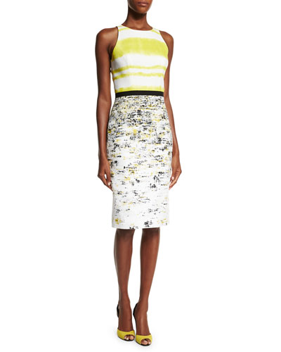 Sleeveless Two-Tone Sheath Dress, Black/Yellow