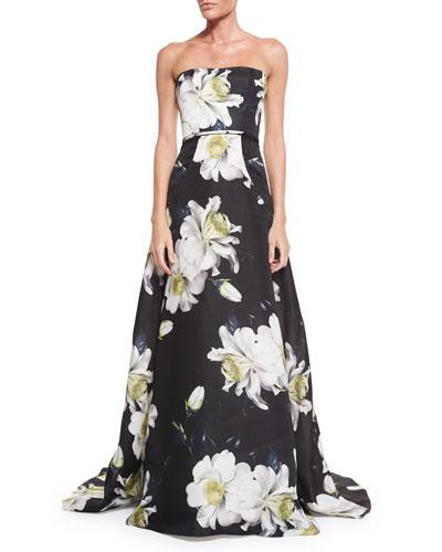 Strapless Gown W/Large Gardenia-Print, Black/White