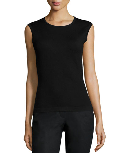 Round-Neck Fitted Tank, Black
