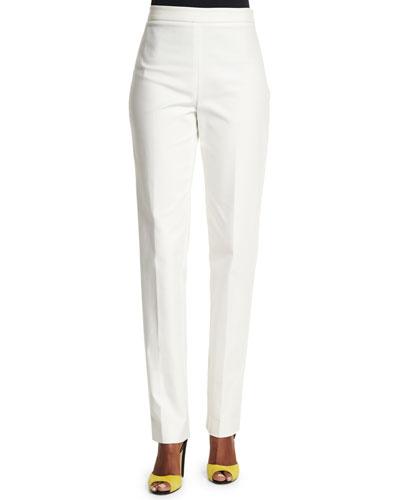 Mid-Rise Slim-Leg Pants, White