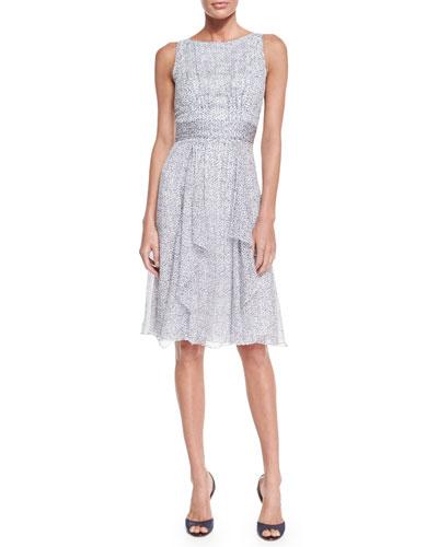Sleeveless Crinkle-Chiffon Dress, Dark Navy/Black/White