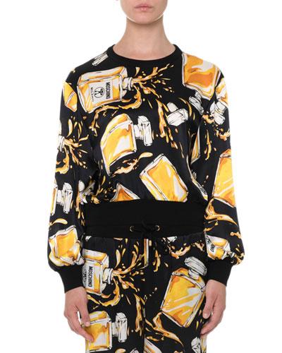Long-Sleeve Perfume Bottle Sweatshirt, Black/Yellow