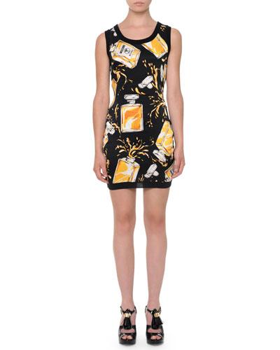 Perfume-Bottle Cashmere Sheath Dress, Black/Yellow