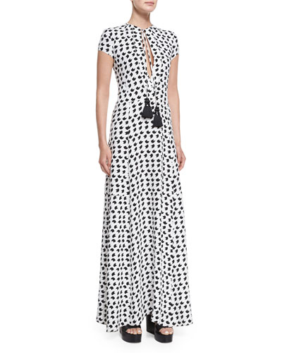 Short-Sleeve Crescent-Print Gown, White/Black