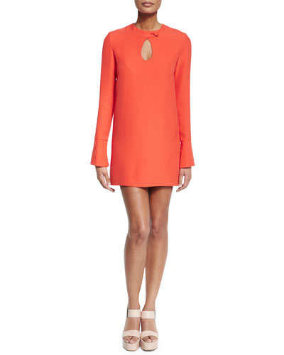 Long-Sleeve Cady Mini Dress, Safety Orange