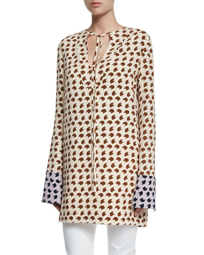 Long-Sleeve Crescent-Print Tunic, Shell/Root/Lavender