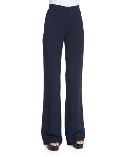 High-Waist Flare-Leg Trousers, Navy