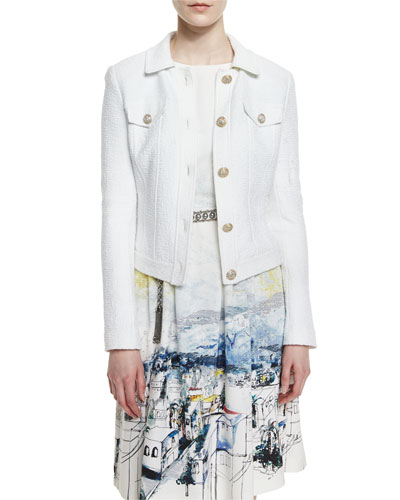 Clair Knit Collared Jacket, Bianco