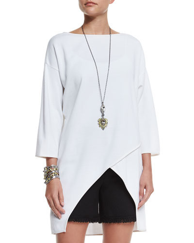 Milano Knit Crossover-Front Top, Bianco