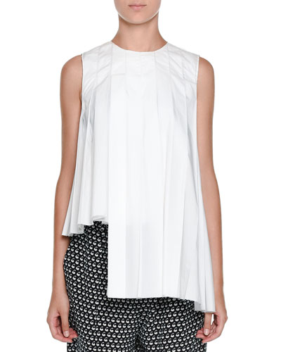 Sleeveless Pleated Asymmetric Tunic, Snow
