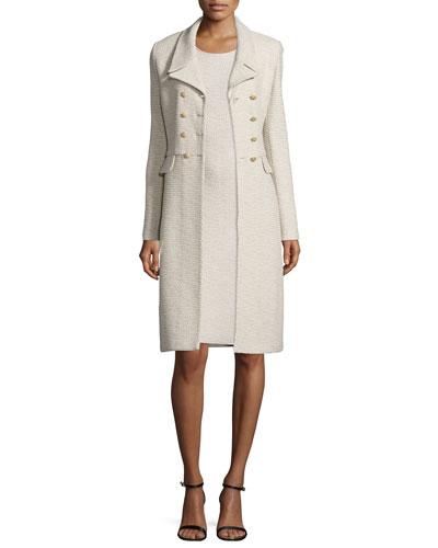 Via Vittorio Knit Double-Breasted Coat, Quartz Multi