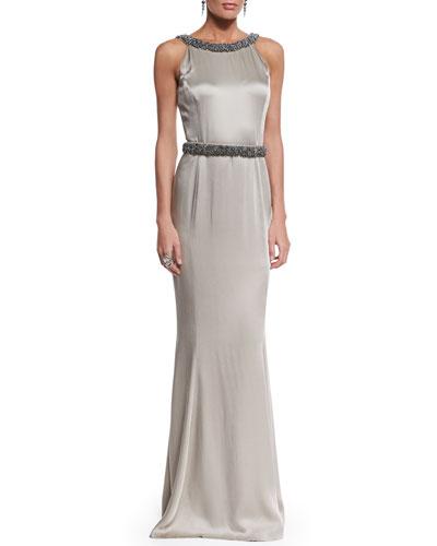 Beaded Liquid Crepe Gown, Medium Silver