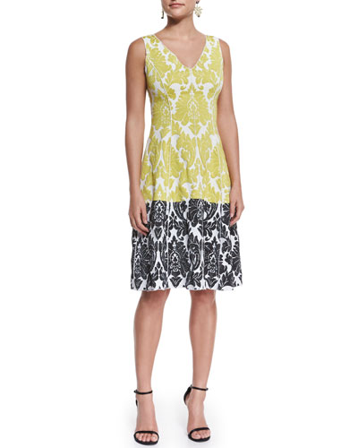 Damask Knit V-Neck Dress, Blanco/Multi
