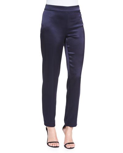 Liquid Satin Cropped Pants, Navy