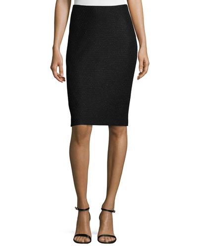 Shimmer Lattice-Knit Pencil Skirt, Caviar