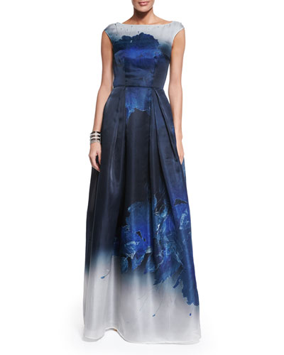 Dramatic Floral-Print Satin Gown, Navy/Multi