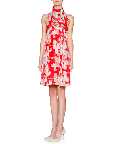 Printed Silk Habutai Halter Dress, Multi Red