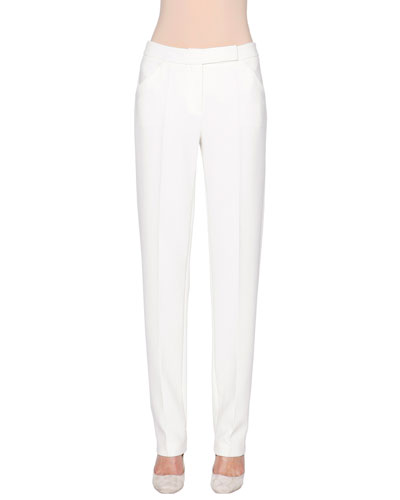 Mid-Rise Narrow-Leg Trousers, Powder