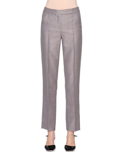 Mini-Houndstooth Narrow-Leg Trousers, Multi Check