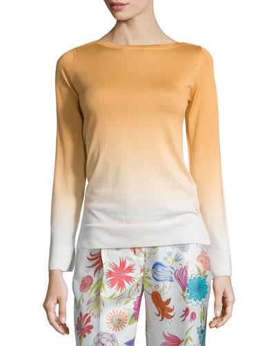 Barchetta Shaded Long-Sleeve Sweater, Honey Gold Fancy