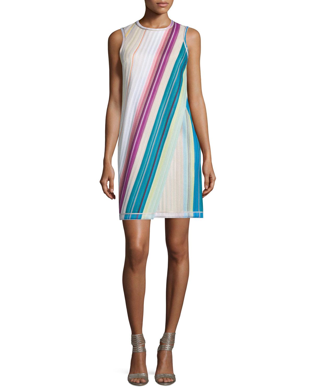 Sleeveless Striped Faux-Wrap Dress, Beige/Multi/Brite