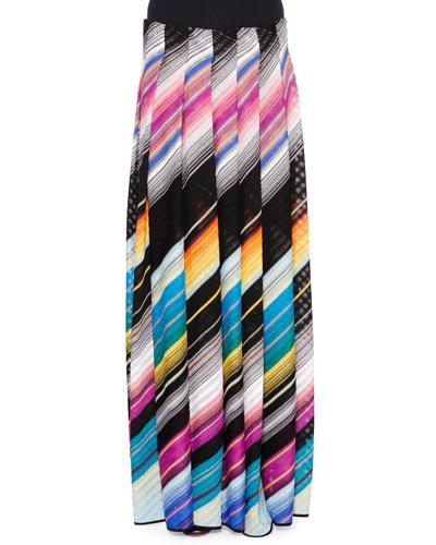 Angled-Stripe Maxi Skirt, Black Multi