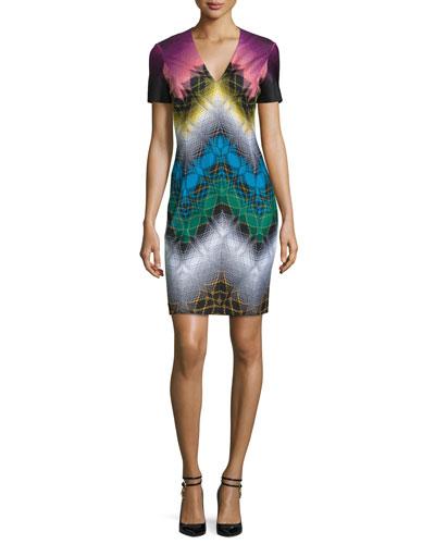 Short-Sleeve V-Neck Sheath Dress, Black/Multi