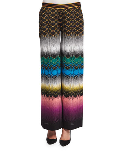 Wide-Leg Stereo Pants, Black/Multi