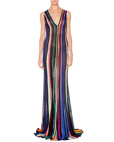 Sleeveless Striped Godet Gown, Black Multi