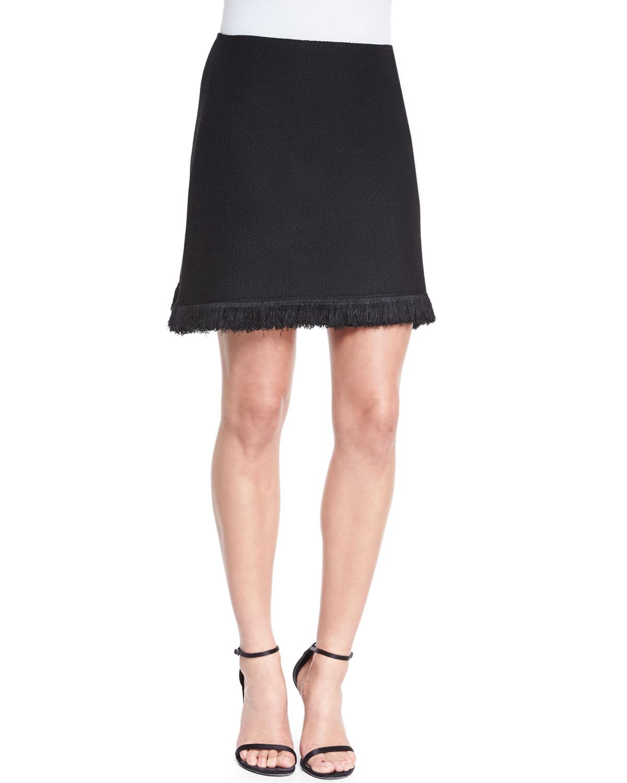 Linea Knit Skirt with Fringe, Caviar