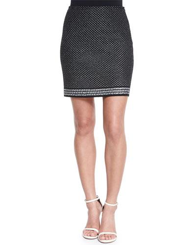 Diamante Knit Mini Skirt, Caviar/White