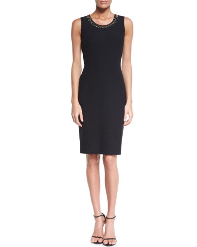 Crinkle Knit Scoop-Neck Sheath Dress, Caviar/Gold