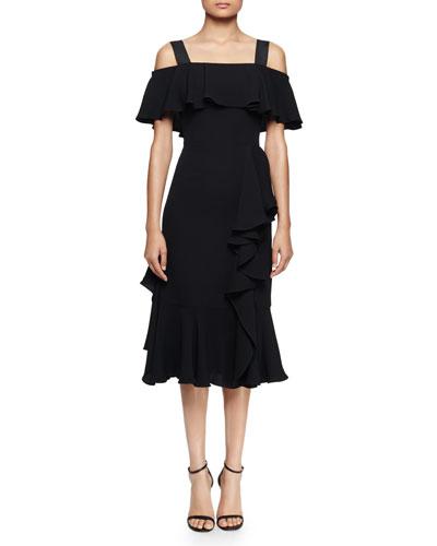 Off-The-Shoulder Dress W/Ruffles, Black