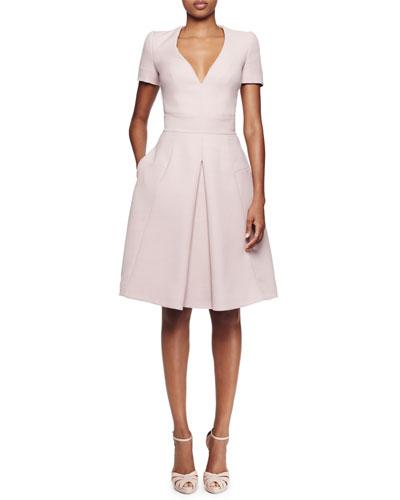 Short-Sleeve V-Neck Pleated Dress, Patchouli