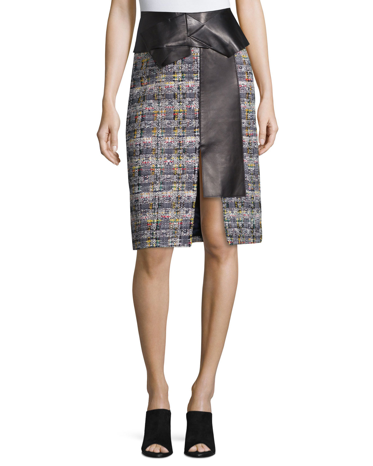 Leather-Trimmed Tweed Skirt, Navy Mix