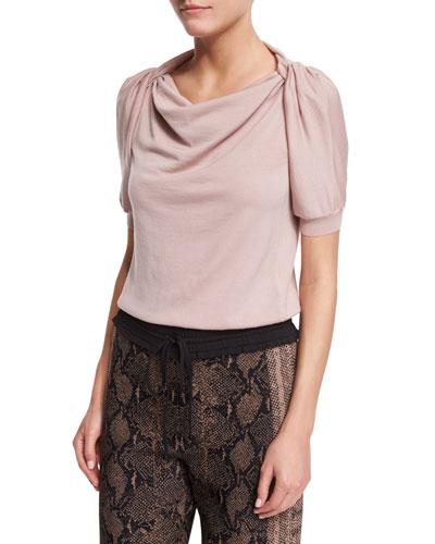 Short-Sleeve Twisted-Shoulder Top, Patchouli
