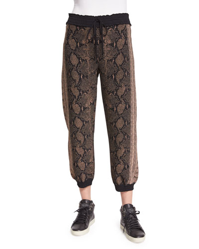 Drawstring-Waist Jogger Pants, Brown/Multi