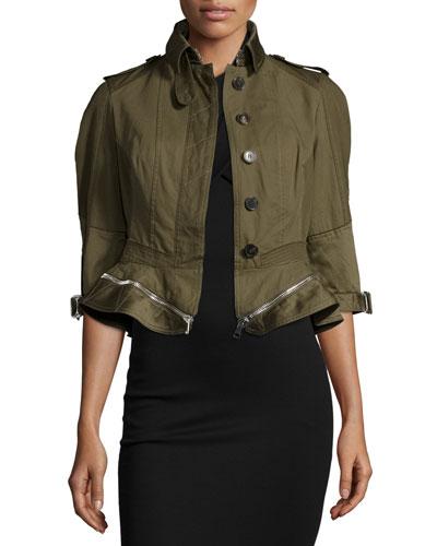 Button-Front Zip-Off Peplum Jacket, Khaki