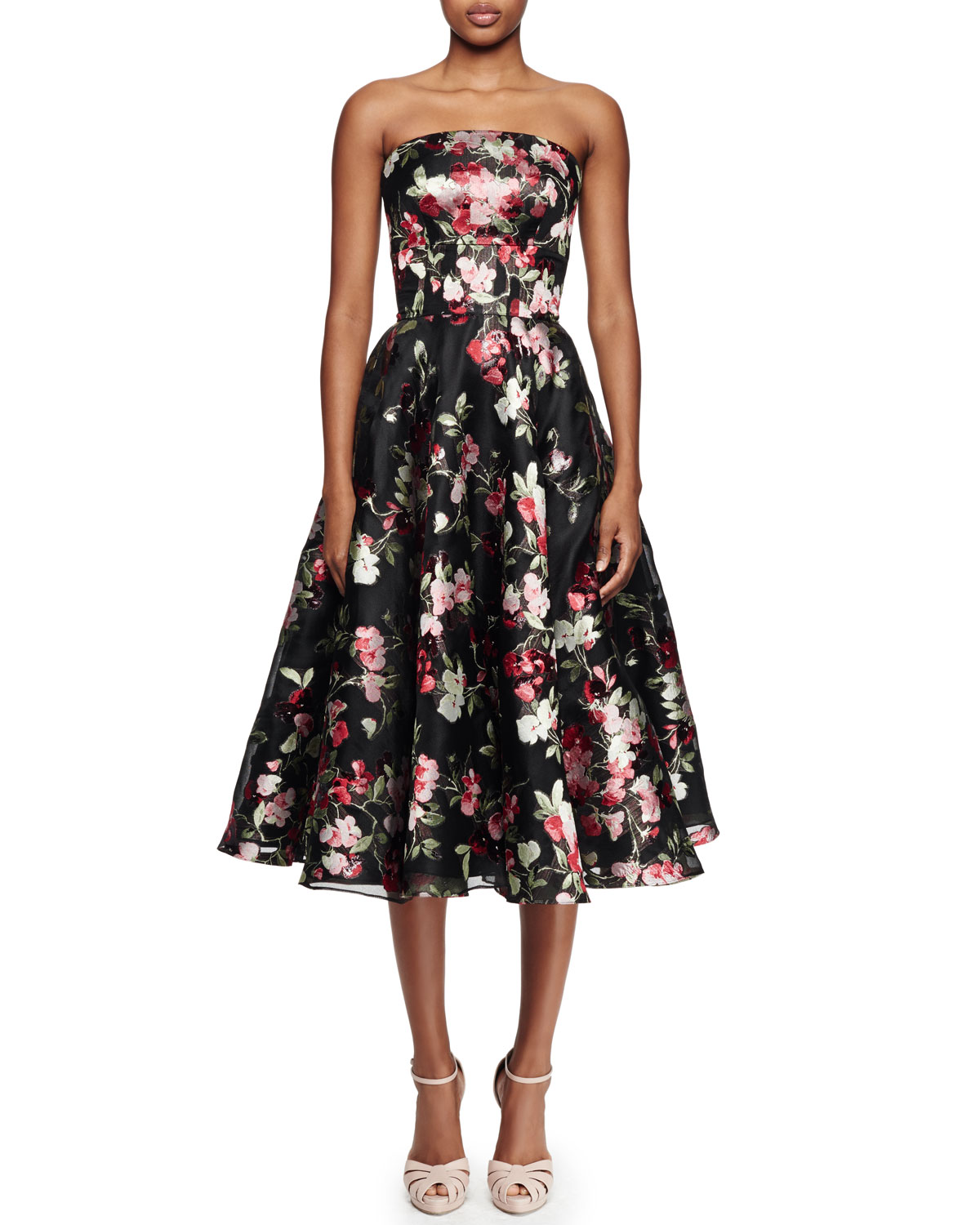 Strapless Full-Skirt Cocktail Dress, Black Multi